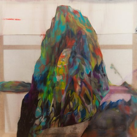 《mountain/island》2種類の布、膠地、油彩/2014