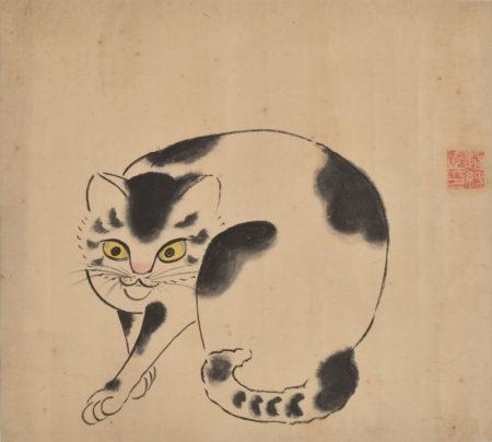 岩松(新田)道純《猫図(新田猫)》江戸後期